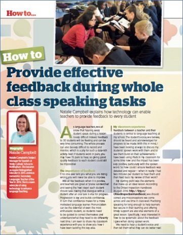 How to… provide effective feedback during whole class speaking tasks