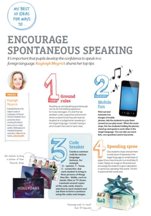 My best 10… ways to encourage spontaneous speaking