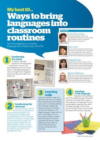 My best 10… ways to bring languages into classroom routines.